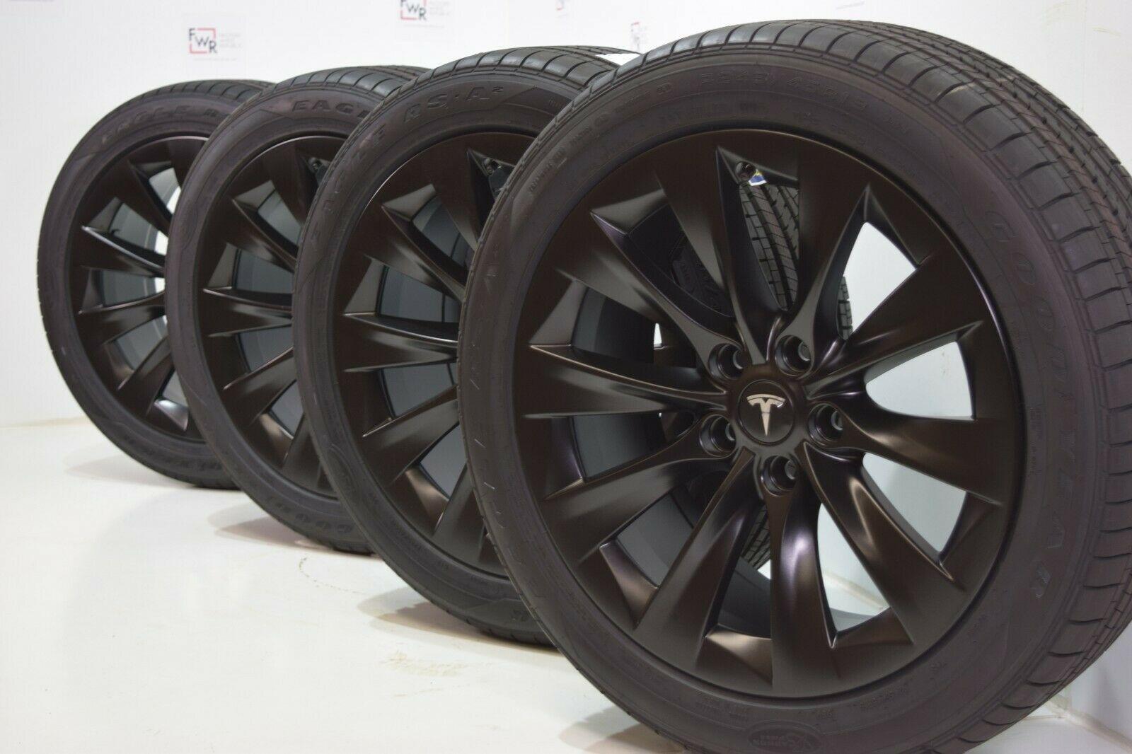 19 Tesla Model S Slipstream Factory Oem Black Wheels Rims Tires Goodyear Factory Wheel Republic